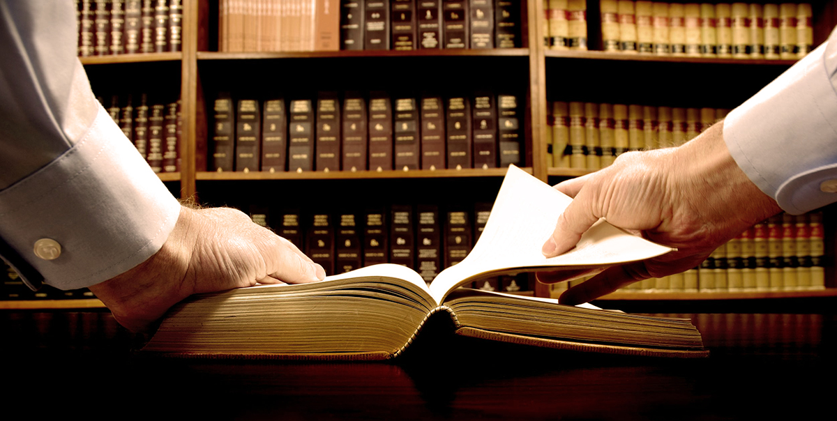 11596733 – hands holding an old book with library in background